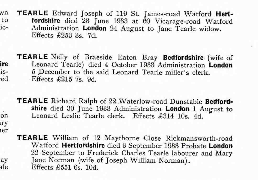 Edward Joseph Tearle Watford probate 1933