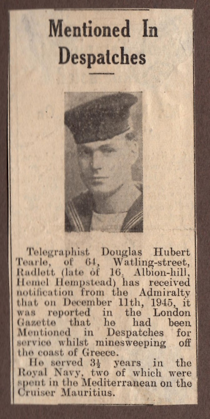 Douglas Hubert Tearle newspaper article 1945