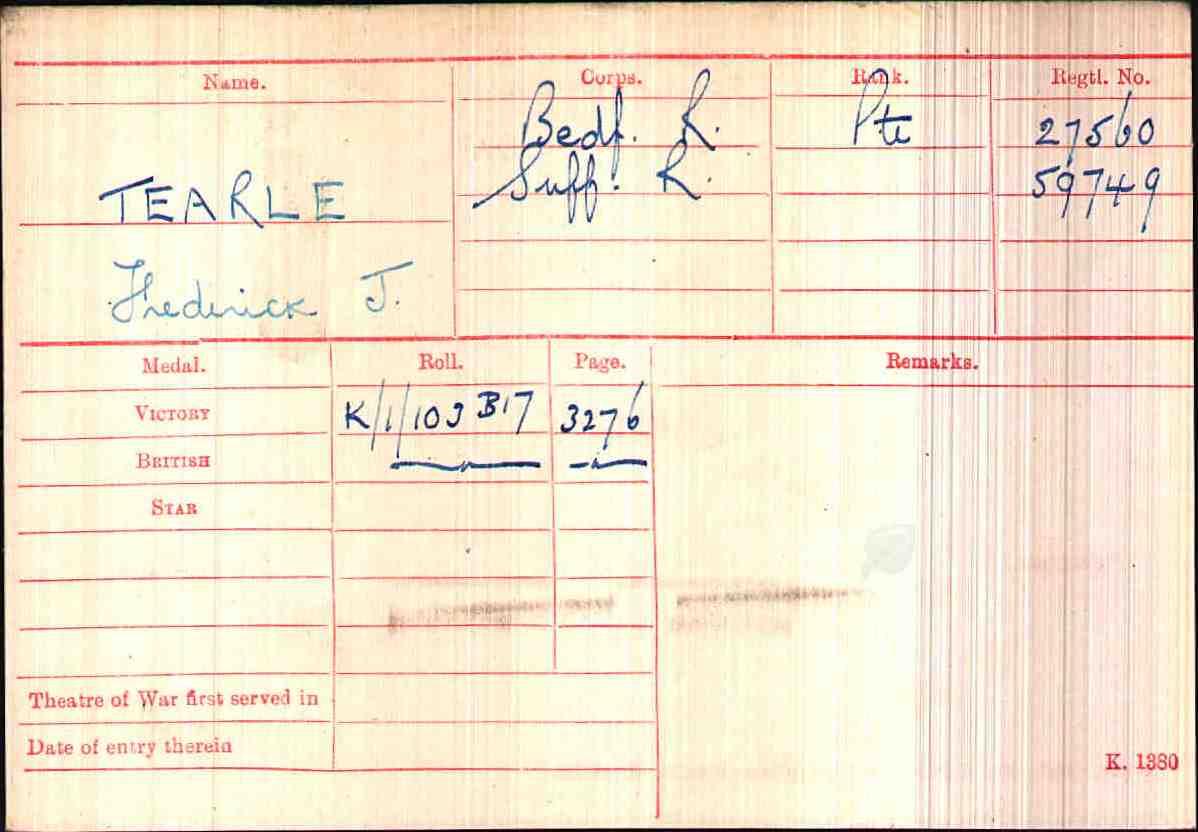 Frederick J 27560, 59749 WW1 army medal rolls