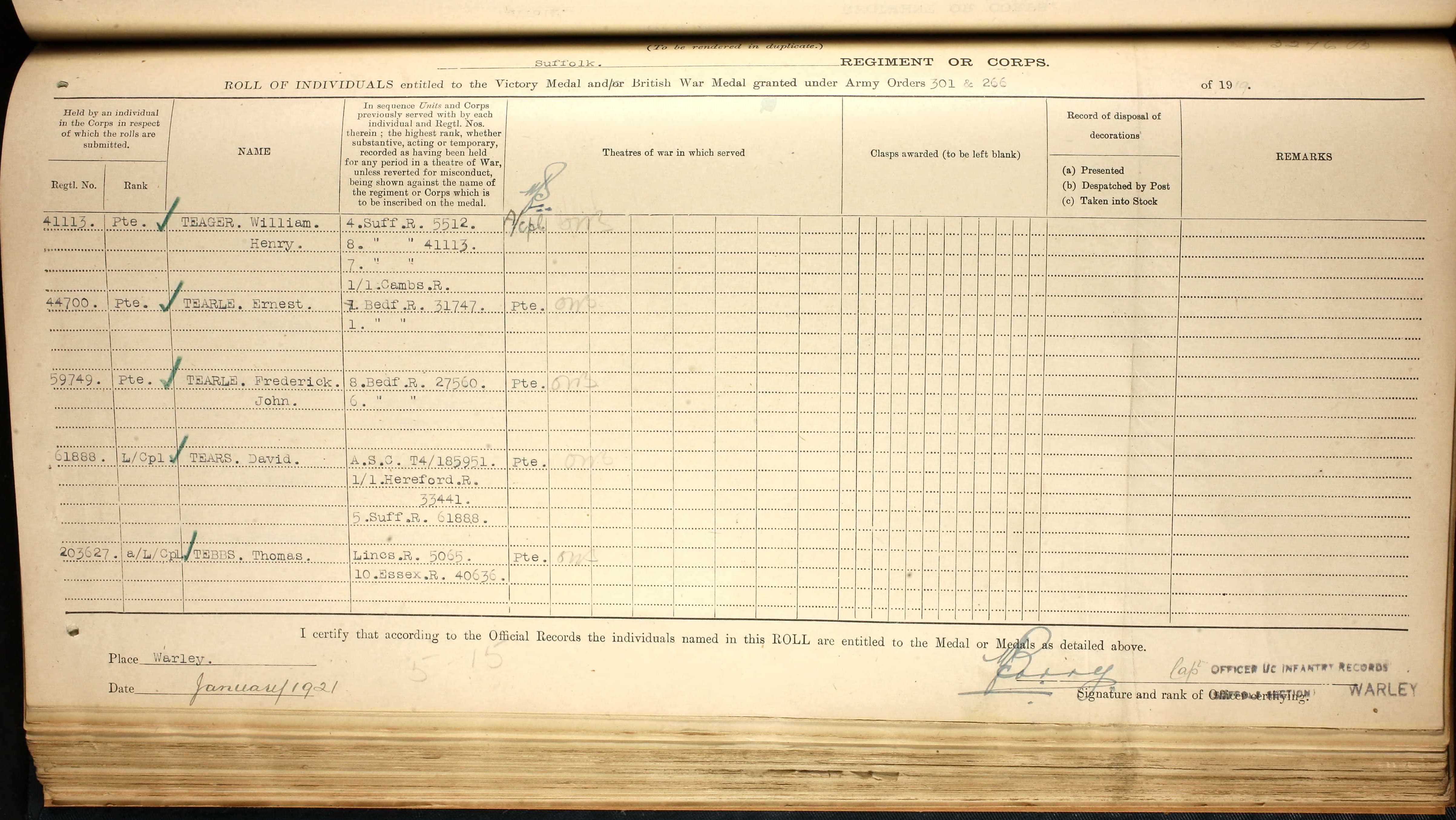 Frederick John Tearle 59749 record of service medals