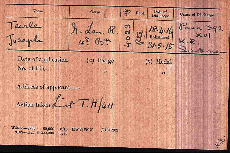 Joseph 4029 WW1 army medal rolls