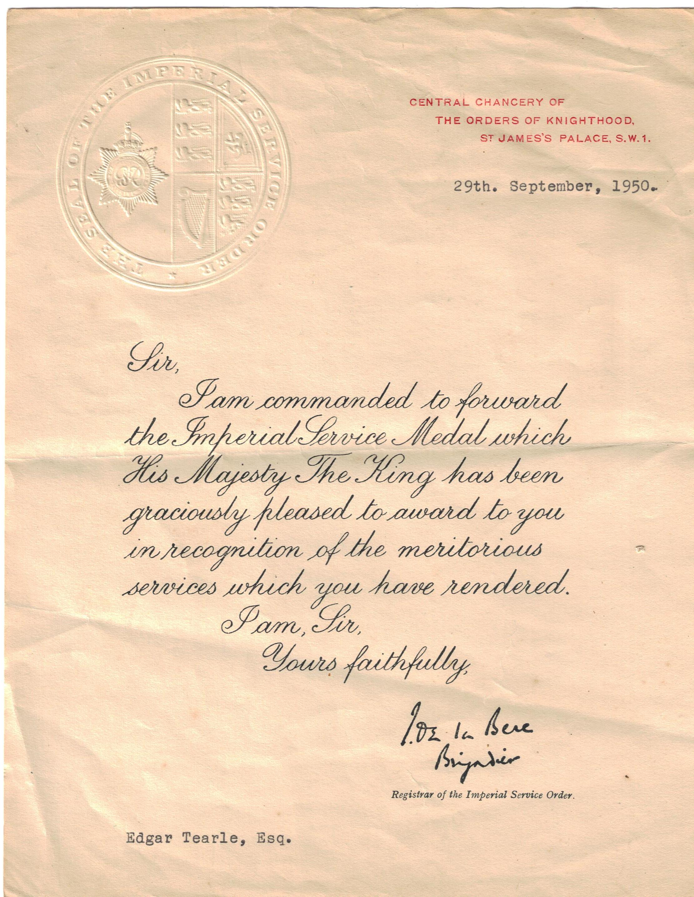 Notice of Imperial Service Medal to Edgar