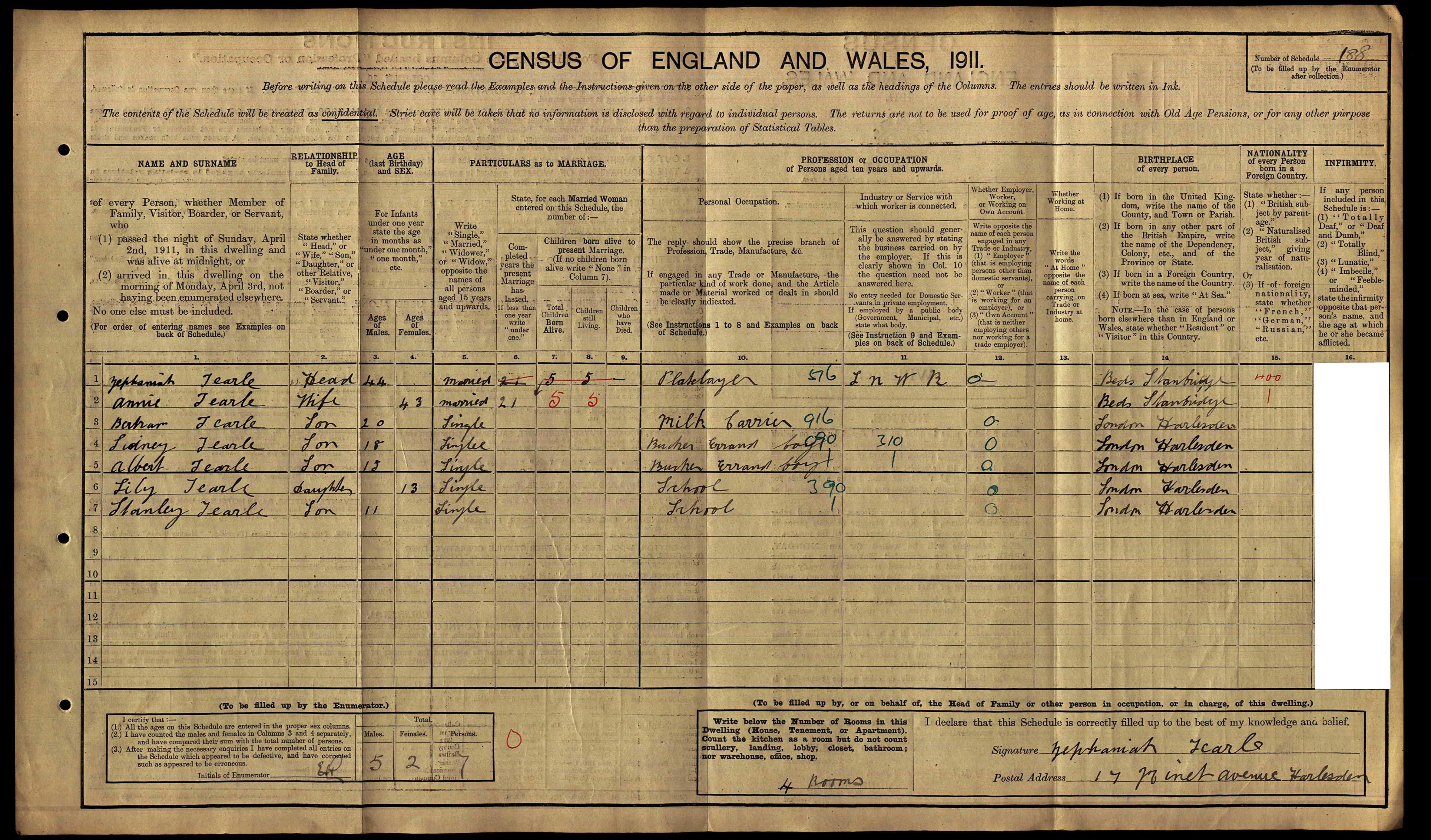 1911 Zephanaiah 1869 Annie 43 Bertram 20 Sidney 18 Albert 15 Lily 13 Stanley 11 in Harlesden