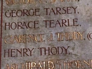 Horace Tearle on Roll of Honour in Studham Church.