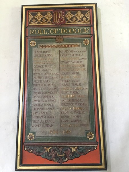Studham Church Roll of Honour.
