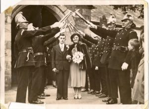 Myrtles Wedding to Donald Jones with Lostwithiel Fire Brigade honour guard Cornish Guardian No 429