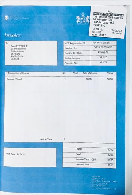 Goldsmiths invoice
